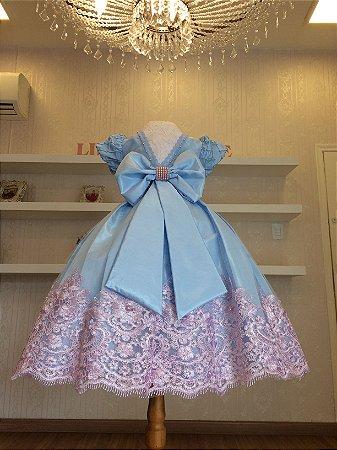 Vestido de Daminha Azul com Rosa - Infantil