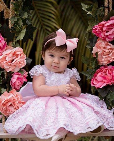 Vestido para Um Aninho Branco com Rosa - Infantil