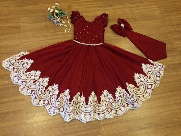 Vestido  Marsala para Miss MIrim - Infantil