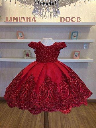 Vestido de Daminhas Bordado em Perolas Vermelhas - Infantil