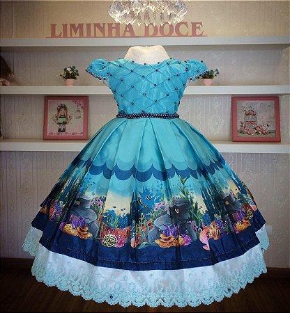 Vestido Fundo do Mar Luxuoso -Infantil