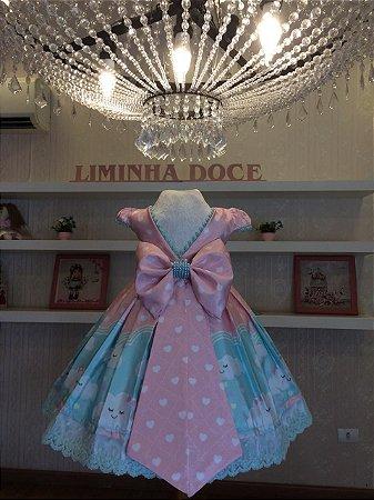 Vestido Rosa Chuva de Amor Luxuoso -Infantil