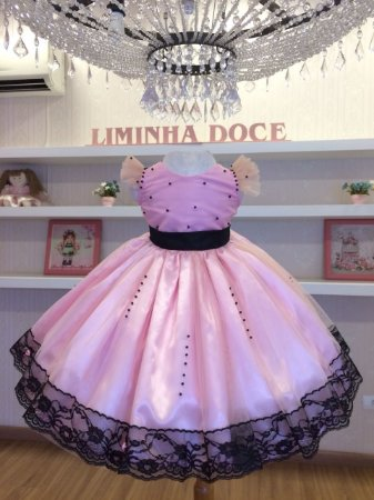 Vestido De Festa Rosa Com Preto-Infantil