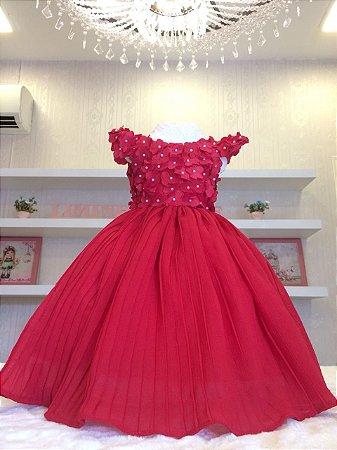 Vestido de Festa Vermelho Saia Plissada -Infantil