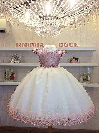 Vestido Infantil Rose Com Perola -Infantil