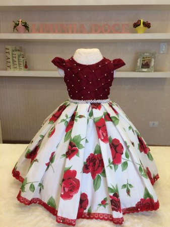 Vestido de Festa  Floral Vermelho Luxuoso - Infantil