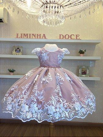 Vestido de Festa Bosque das Borboletas Rose Com Branco - Infantil