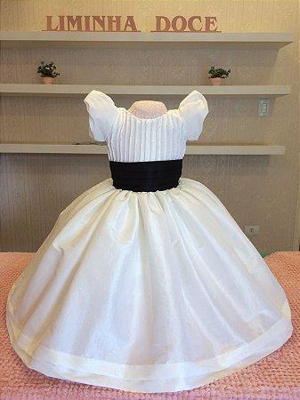 Vestido Off  white Com Preto - Infantil