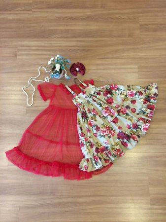 Vestido  Flores Vermelhas -Vestido Infantil