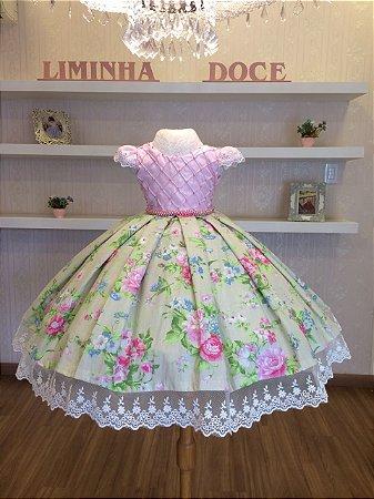 Vestido Festa Floral Com Rosa-Infantil - Liminha Doce - Vestidos de ... 467069492bb