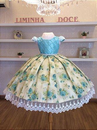Vestido Festa Floral Com Flores Verde Água -Infantil - Liminha Doce ... 4aaee84e083