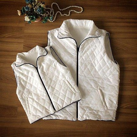 Colete Inverno  Matelassê Branco - Mãe e Filha