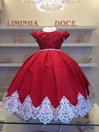Vestido de Luxo Vermelho Com Branco-Infantil