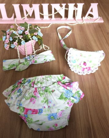 Kit Tapa Fralda E Bolsa floral-Infantil