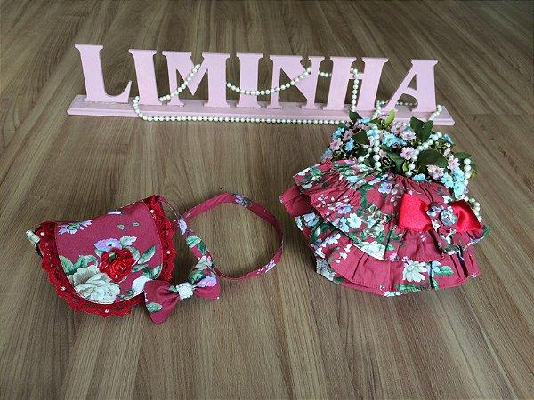 kit Tapa Fralda e Bolsa Floral Vermelho-Infantil