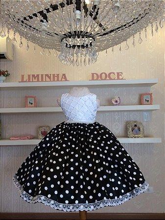 Vestido de Festa Branco Com Saia de Poa -Infantil