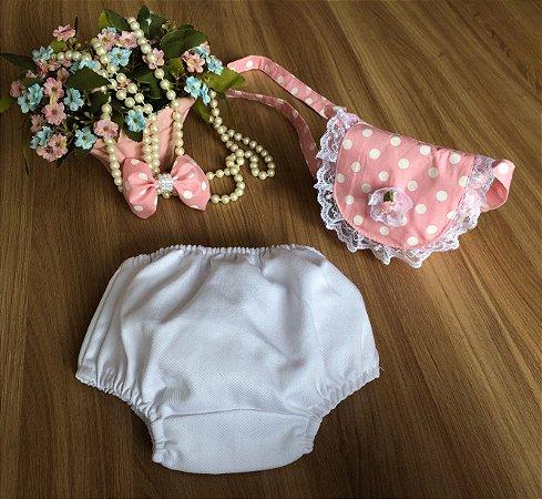 Tapa Fralda e Bolsa Poa Rosa-Bebe
