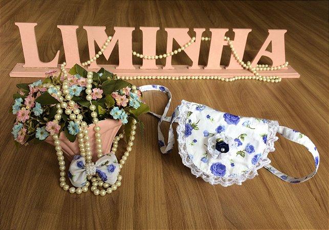 Bolsa  e Laço de Cabelo Floral Azul -Acessórios