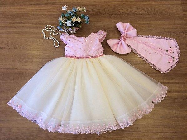 Vestido  Jardim de Bonecas -Vestido Infantil