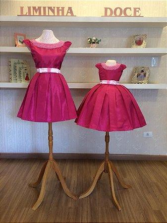 Vestido Mae e Filha Pink com Pérolas - Mãe e Filha