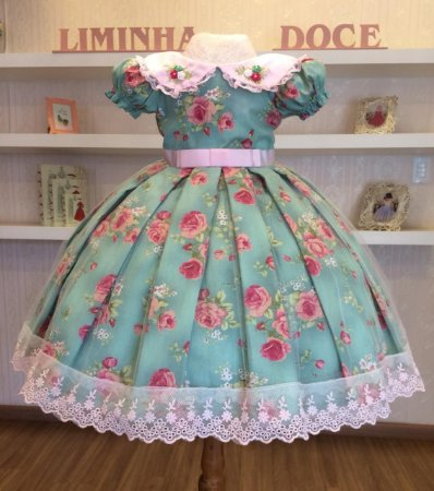 Vestido Aia  Floral Com Rosa  -Vestido Infantil