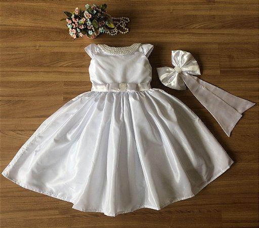 Vestido Branco com Pérolas - Infantil