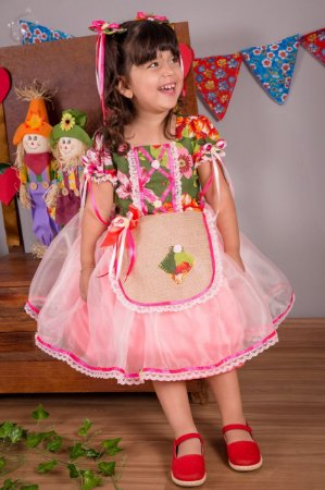 Vestido de Festa Junina Floral  - Infantil
