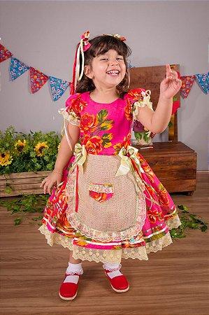Vestido de Festa Junina Floral Pink- vestidos para festa junina