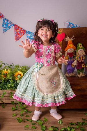 Vestido de Festa Junina Xadrez Verde - vestidos para festa junina