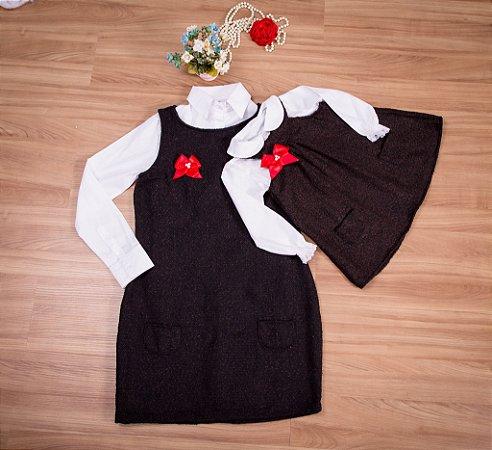 Vestido de lanzinha Marrom e Camisa- Mãe e Filha