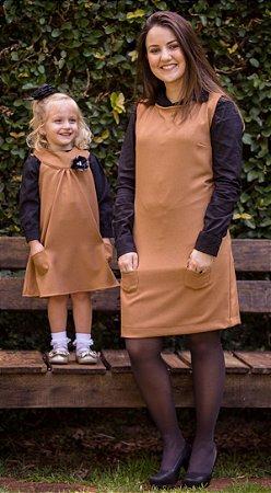 Vestido Basico Com Camisa Preta- Mãe e Filha