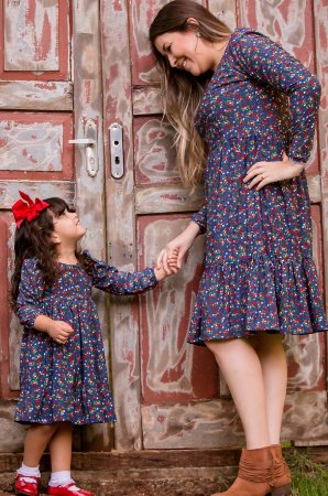Vestido Floral Manga Longa- Mãe e Filha