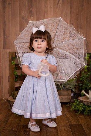 Vestido Xadrez Azul -vestidos de festa infantil