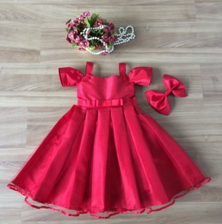 Vestido De Festa Vermelho -Vestidos de festa infantil