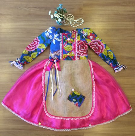 Vestido de Festa Junina Floral Azul  - vestidos para festa junina