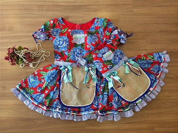 Vestido de Festa Junina Floral Azul - Mãe e Filha