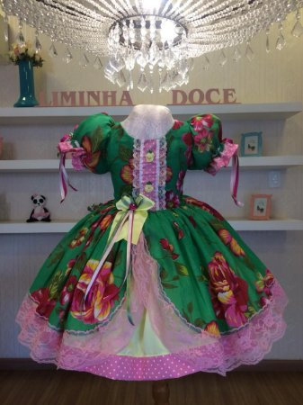 Vestido Festa Junina Floral Verde - estidos para festa junina