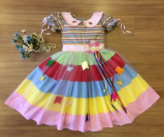 Vestido Festa Junina Colorido - Infantil