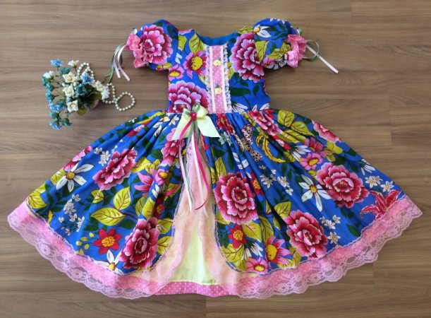 Vestido de Festa Floral Azul -vestidos para festa junina