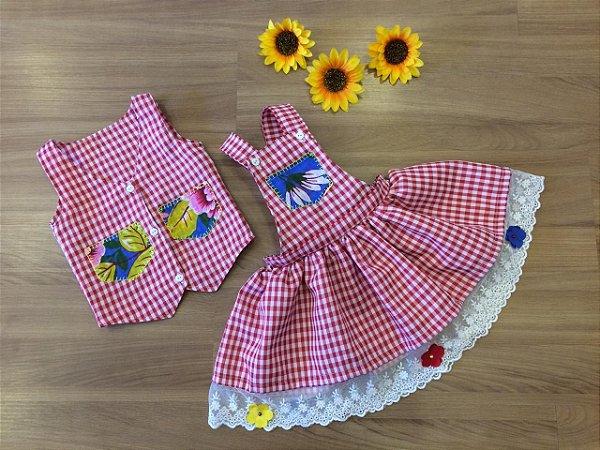 Jardineira e Colete Xadrez -vestidos para festa junina