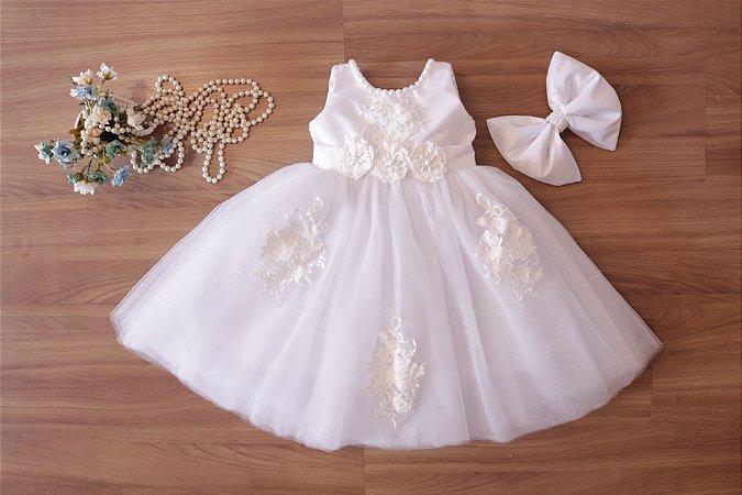 Vestido de Daminha Branco  - DAMINHAS DE HONRA