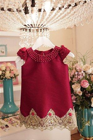 Vestido Trapezio Marsala Luxo  - Infantil