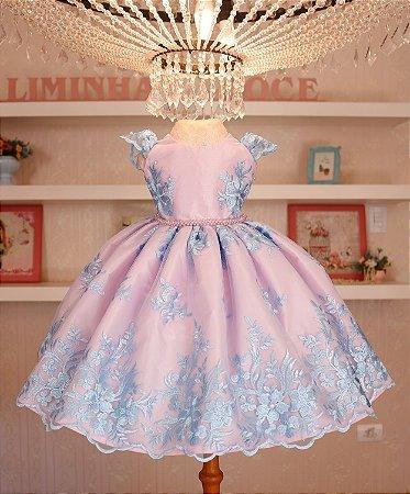 Vestido Formatura Rosa Com Azul- Vestido de Festa
