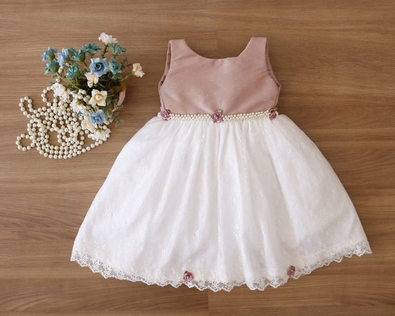 Vestido Daminha Rose Com Branco  - Promoçao
