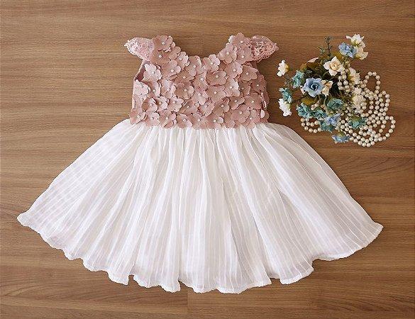Vestido Daminha Rose Com Saia Branca  - Dama de Honra