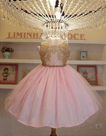 Vestido Rosa Com Dourado - PROMOÇÕES