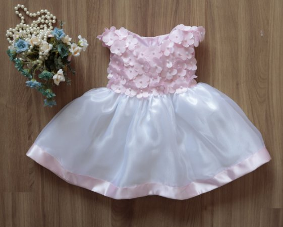 Vestido de Festa Flores Rosa   - Vestido de Festa Infantil