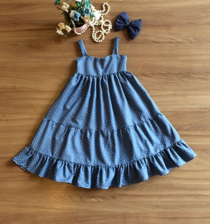 Vestido Longo Jeans Infantil - Vestido de Festa