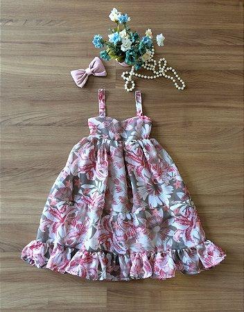 Vestido Longo Floral Rose Infantil - Vestido de Festa