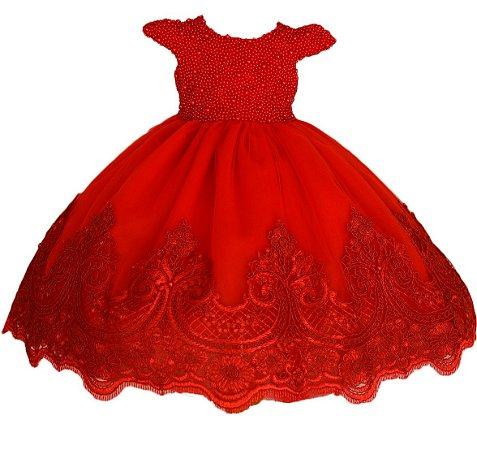 Vestido Para Daminha Vermelho com Perolas - Daminha de Honra